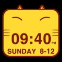 Cute Kitty Cat Clock Widget