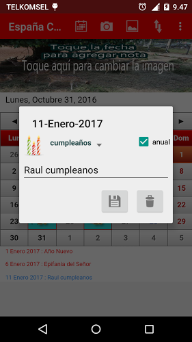 España Calendario 2017 2