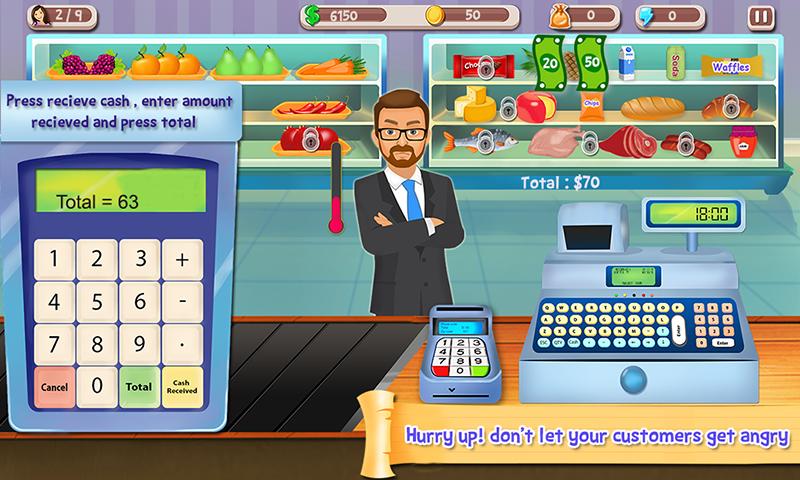 Supermercado caja registradora: Gerente y Cajero 2