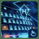 3D Blue Neon Future Keyboard Theme