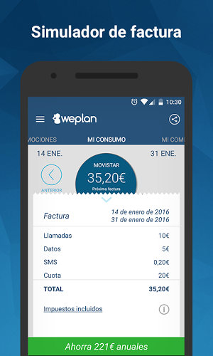 Weplan: Consumo datos y voz 5